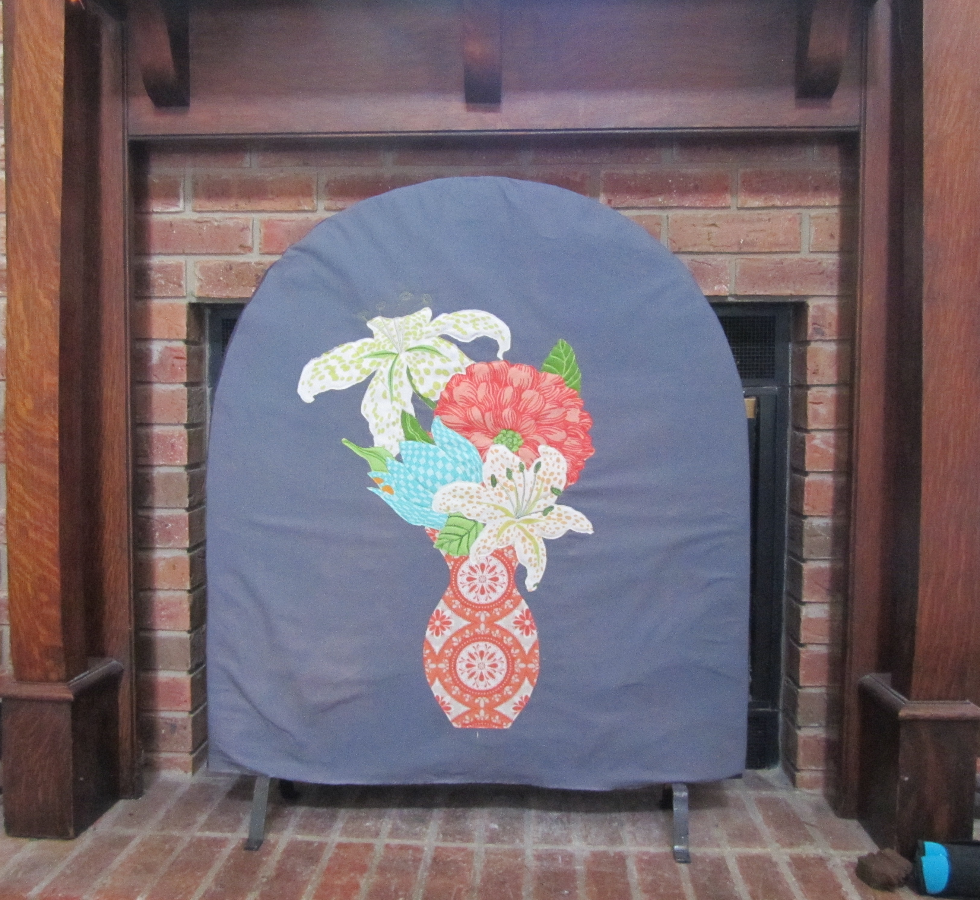 fireplace screen cover finished evening in the garden quilts
